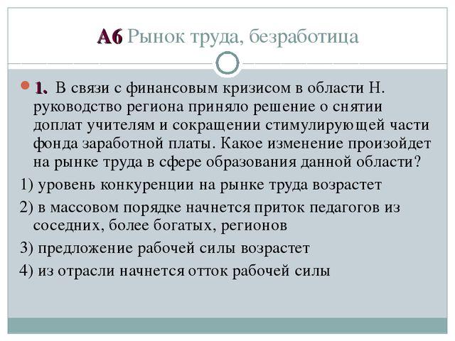 А6 Рынок труда, безработица 1. В связи с финансовым кризисом в области Н. рук...