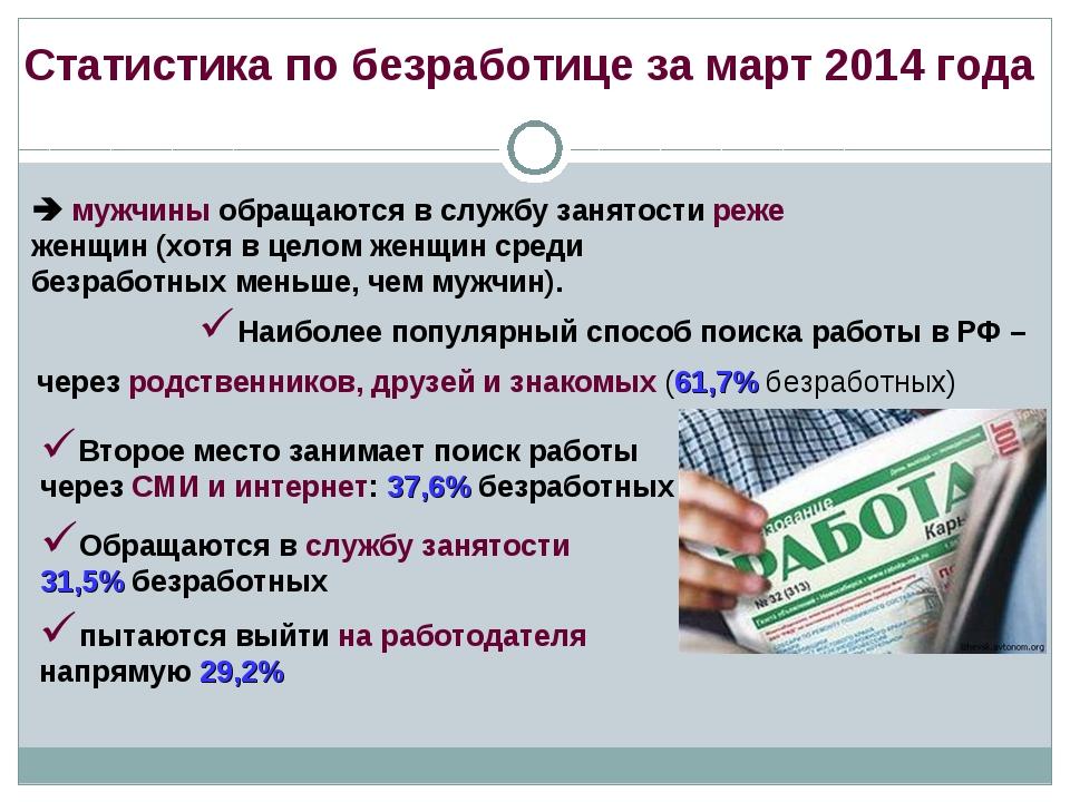 Статистика по безработице за март 2014 года  мужчины обращаются в службу зан...