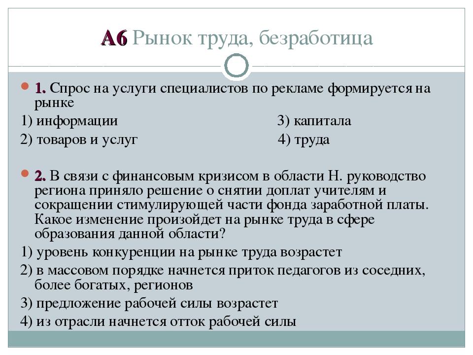 А6 Рынок труда, безработица 1. Спрос на услуги специалистов по рекламе формир...