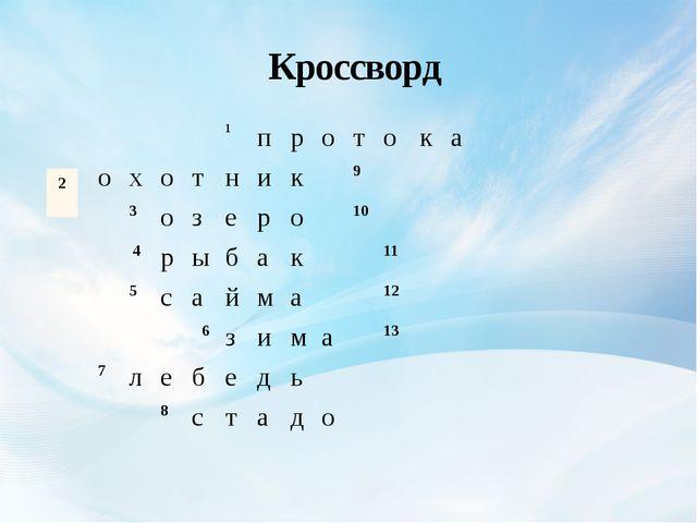 Кроссворд 1 п р о т о к а о х о т н и к 9 3 о з е р о 10 4 р ы б а к 11 5 с...