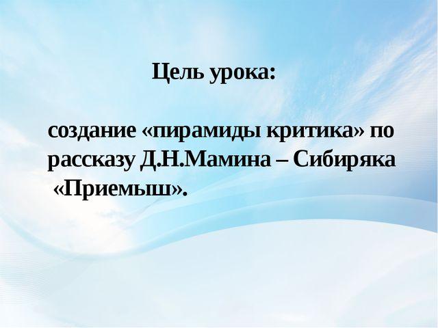 Цель урока: создание «пирамиды критика» по рассказу Д.Н.Мамина – Сибиряка «П...