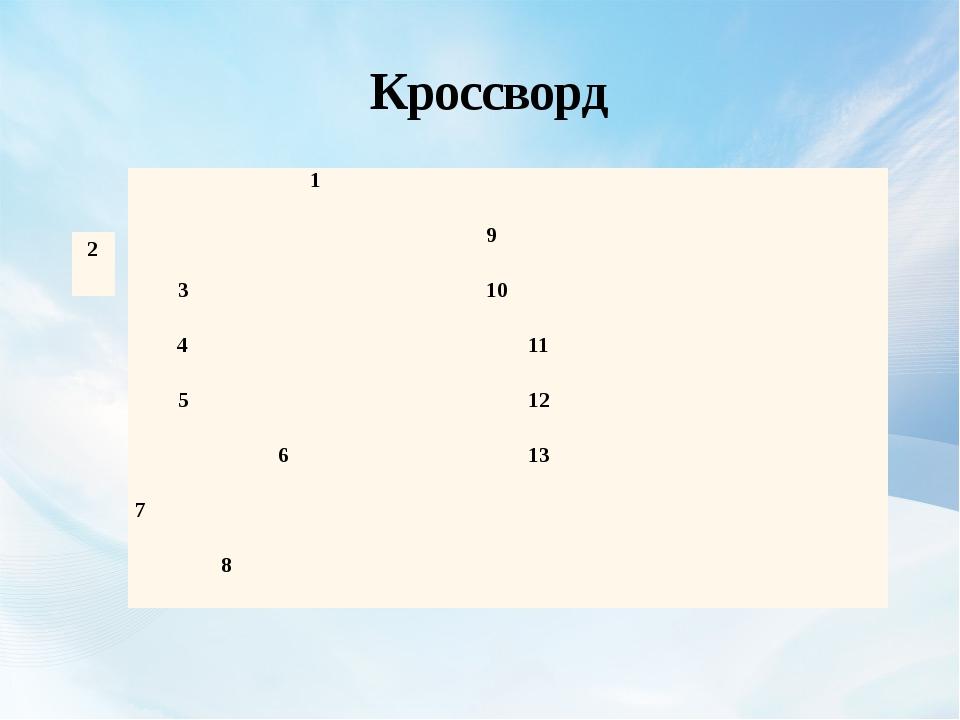 Кроссворд 1 9 3 10 4 11 5 12 6 13 7 8 2