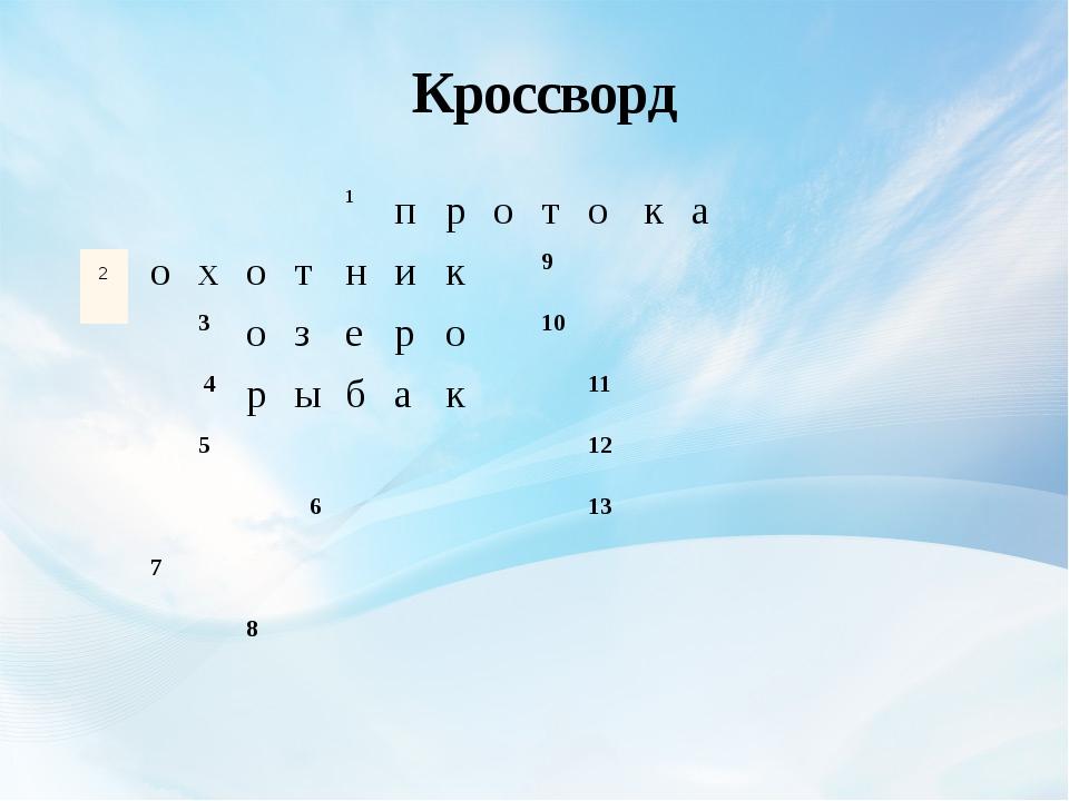 Кроссворд 1 п р о т о к а о х о т н и к 9 3 о з е р о 10 4 р ы б а к 11 5 12...