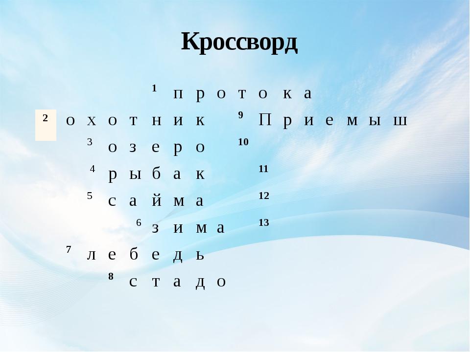 Кроссворд 1 п р о т о к а о х о т н и к 9 П р и е м ы ш 3 о з е р о 10 4 р ы...