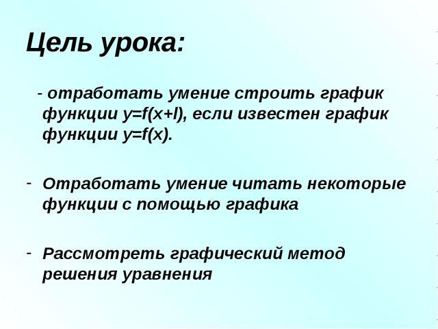 Цель урока: - отработать умение строить график функции y=f(x+l), если известе...
