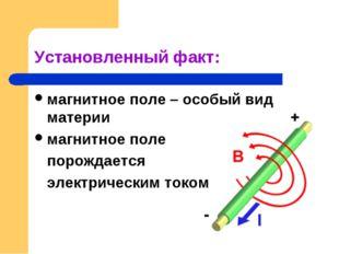 Установленный факт: магнитное поле – особый вид материи магнитное поле порожд