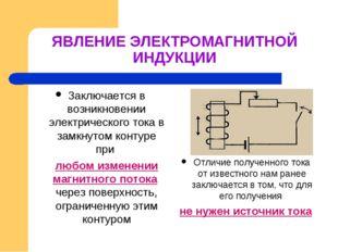 ЯВЛЕНИЕ ЭЛЕКТРОМАГНИТНОЙ ИНДУКЦИИ Заключается в возникновении электрического