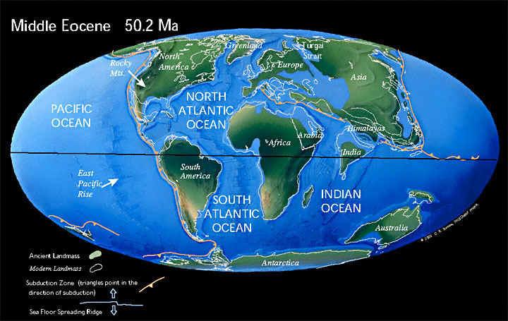 Земля, 50.2 миллионов лет назад