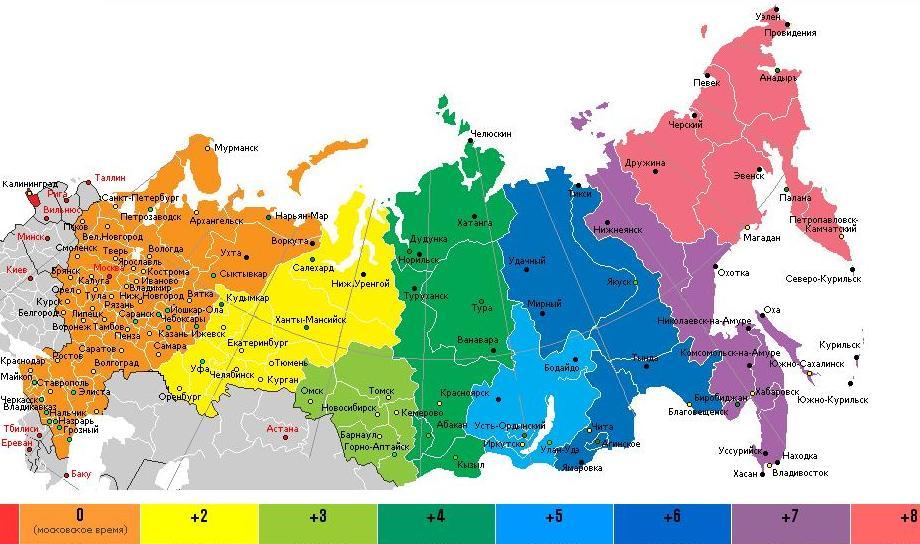 Карта поясного времени по состоянию на 1987 год, так как в волгограде и саратове ещё не применяется время мск