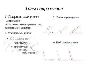 Типы сопряжений 1.Сопряжение углов (сопряжение пересекающихся прямых под разл