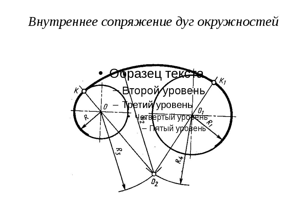 Внутреннее сопряжение дуг окружностей