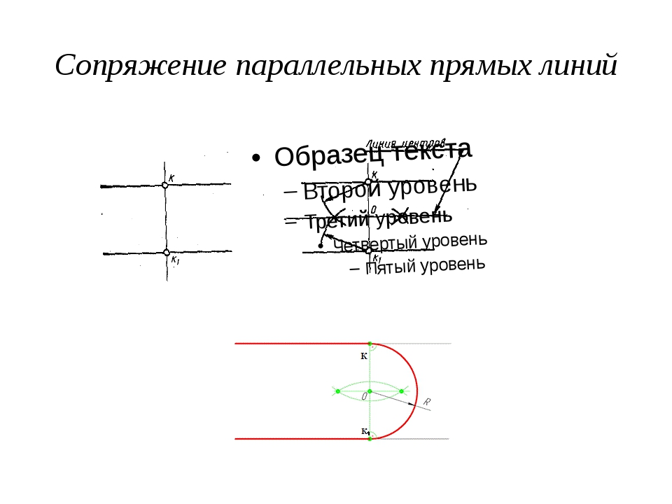 Сопряжение параллельных прямых линий