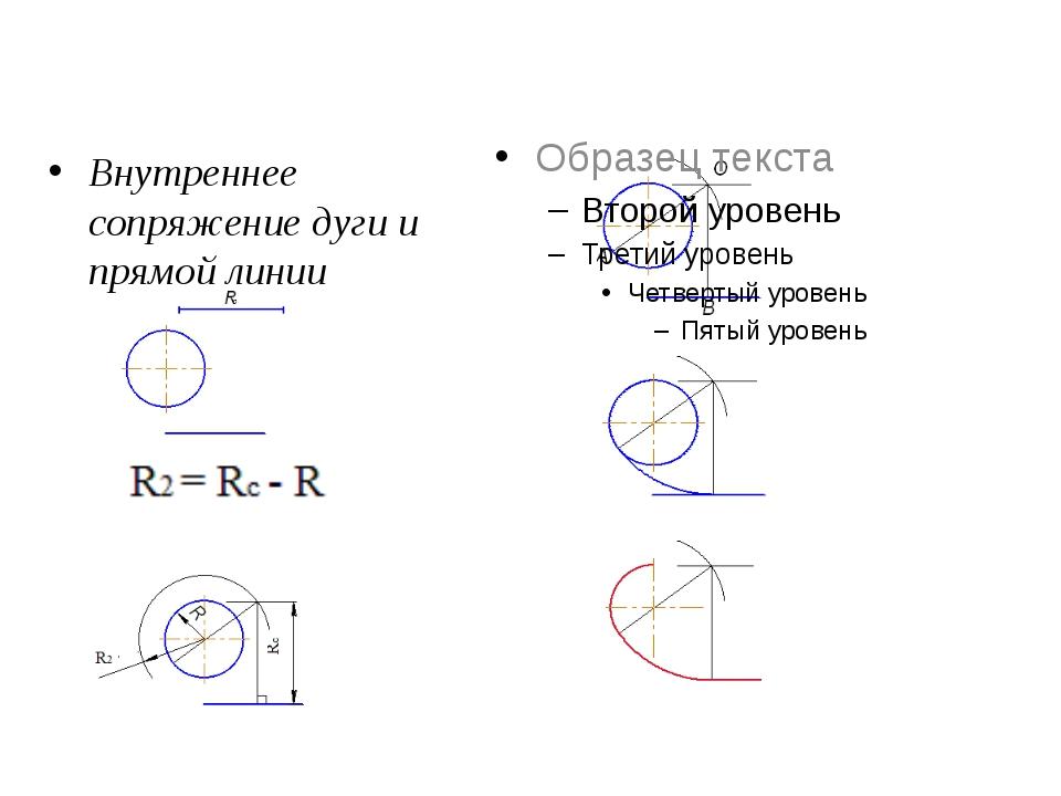 Внутреннее сопряжение дуги и прямой линии