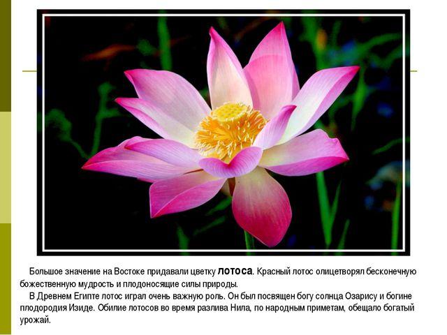 Большое значение на Востоке придавали цветку лотоса. Красный лотос олицетворя...