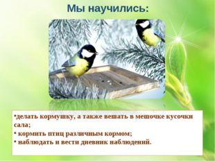 делать кормушку, а также вешать в мешочке кусочки сала; кормить птиц различны