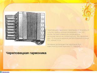 Череповецкая гармоника Череповецкие гармоники (черепашки) отличались от тульс