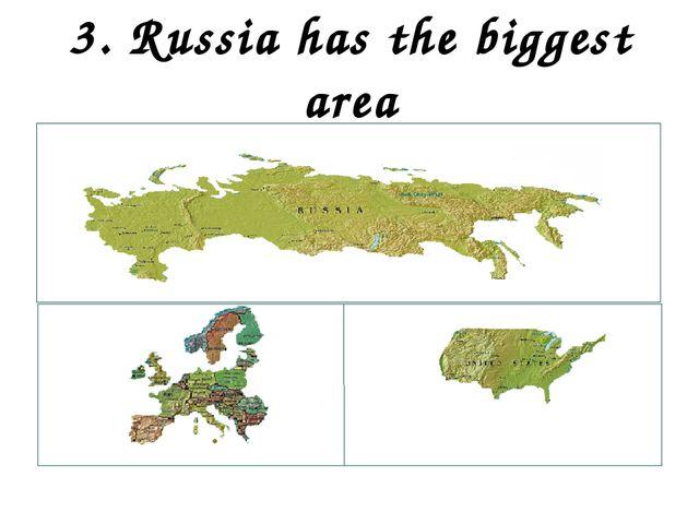3. Russia has the biggest area