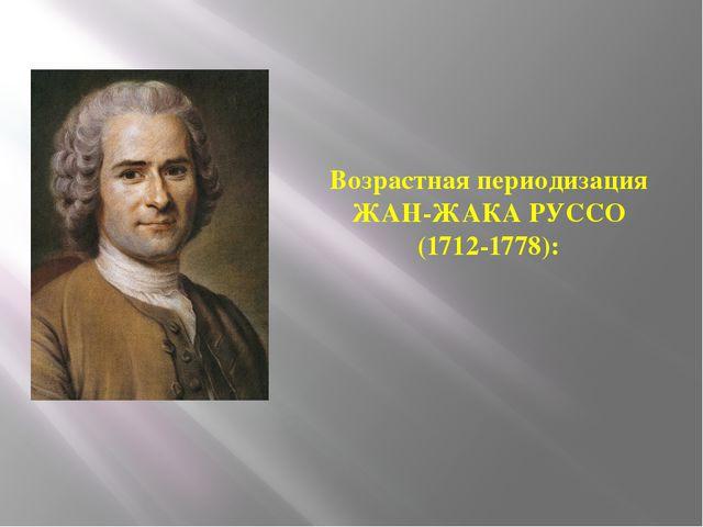 Возрастная периодизация ЖАН-ЖАКА РУССО (1712-1778):