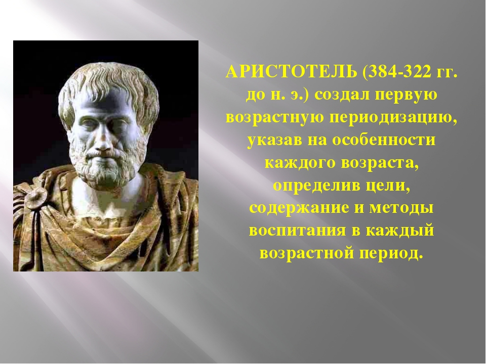 АРИСТОТЕЛЬ (384-322 гг. до н. э.) создал первую возрастную периодизацию, указ...