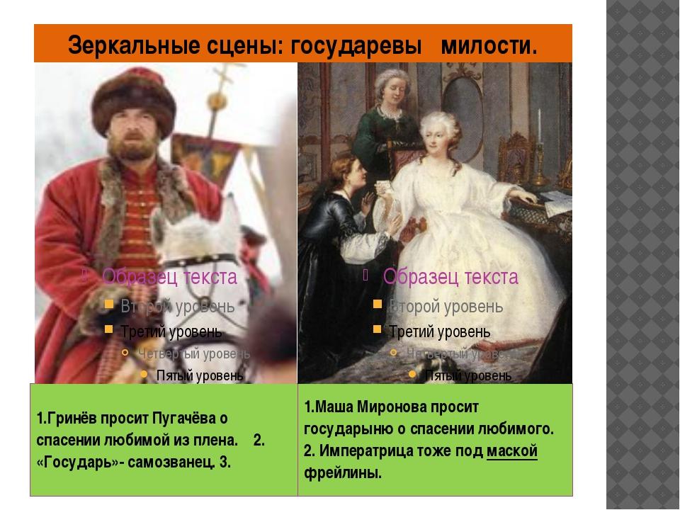 Зеркальные сцены: государевы милости. 1.Гринёв просит Пугачёва о спасении люб...