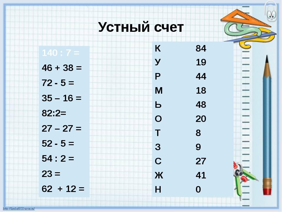 Устный счет 140 : 7 = 46 + 38 = 72- 5 = 35 – 16 = 82:2= 27 – 27 = 52- 5 = 54...