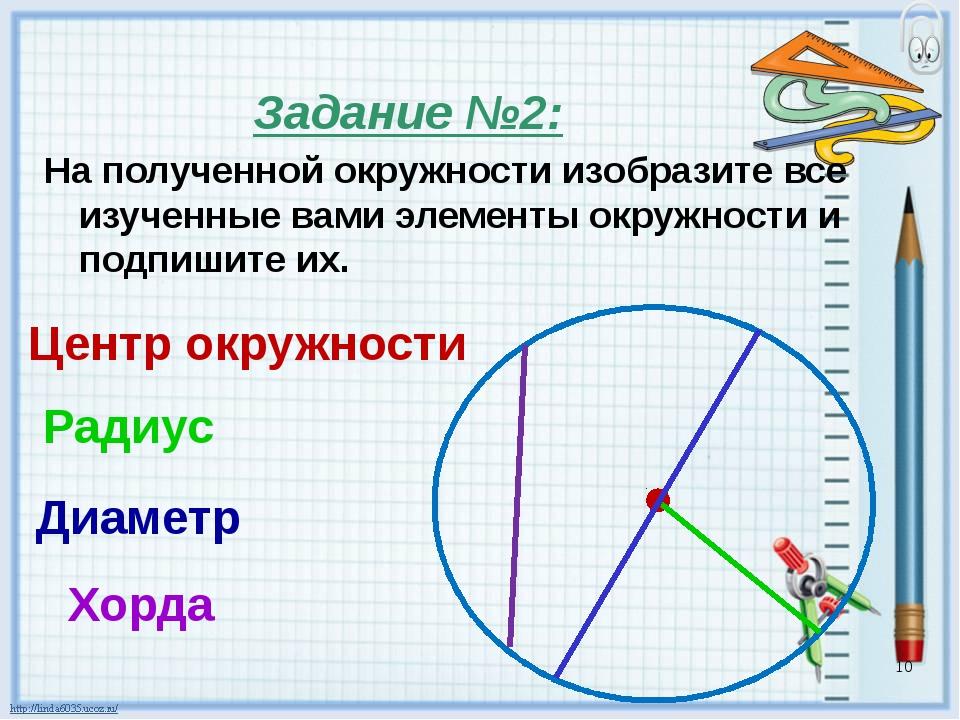 Задание №3:  Измерь радиусы и диаметры окружностей Запиши, чему они равны 1....