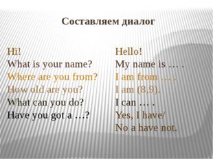 Составляем диалог Hello! My name is … . I am from … . I am (8,9). I can … . Y
