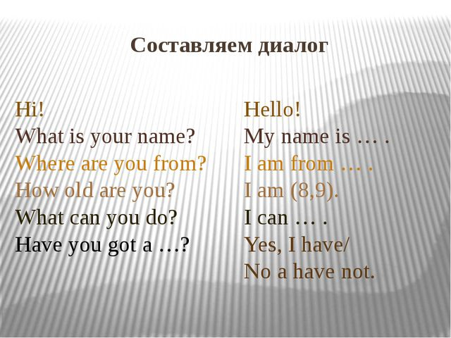 Составляем диалог Hello! My name is … . I am from … . I am (8,9). I can … . Y...