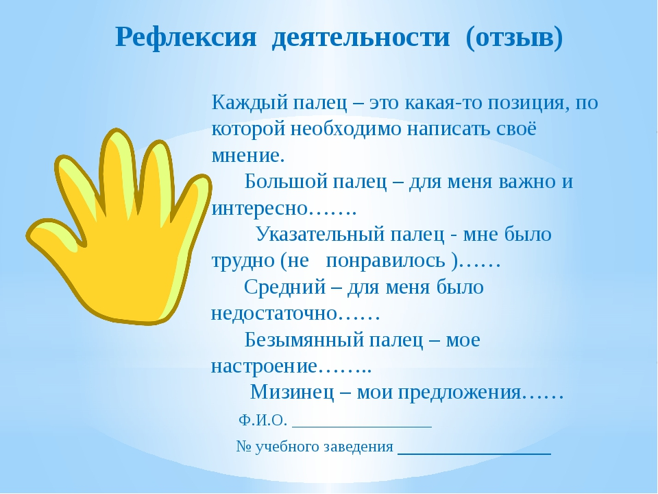 Рефлексия деятельности (отзыв)  Каждый палец – это какая-то позиция, по к...