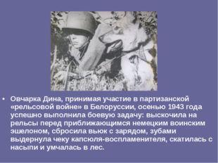 Овчарка Дина, принимая участие в партизанской «рельсовой войне» в Белоруссии,
