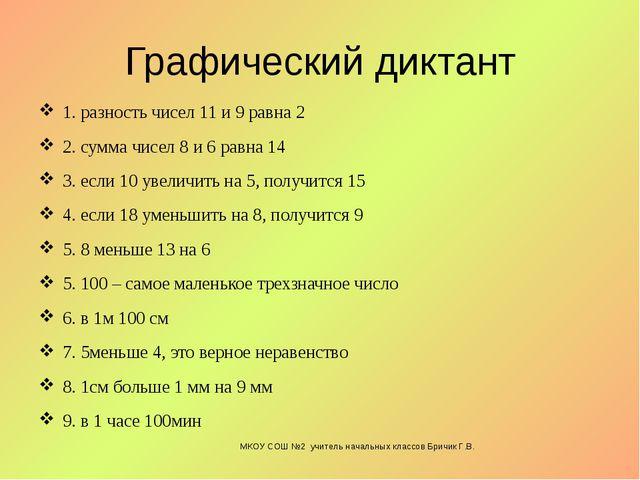 Графический диктант 1. разность чисел 11 и 9 равна 2 2. сумма чисел 8 и 6 рав...