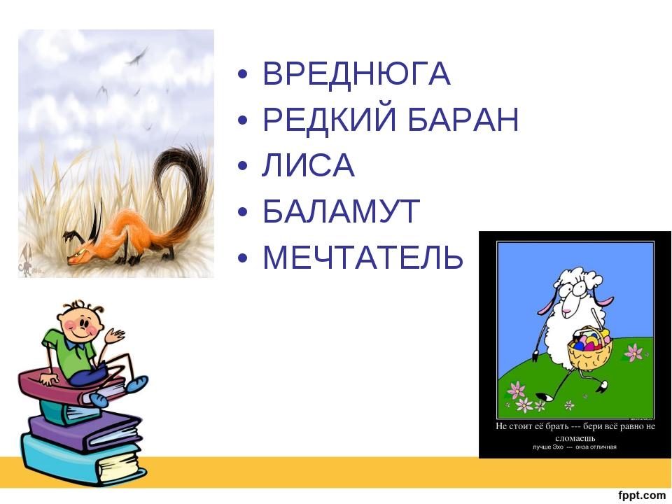 ВРЕДНЮГА РЕДКИЙ БАРАН ЛИСА БАЛАМУТ МЕЧТАТЕЛЬ