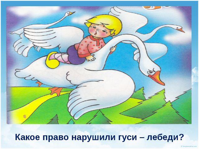 Какое право нарушили гуси – лебеди?