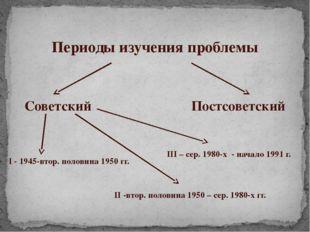 Периоды изучения проблемы Советский Постсоветский I - 1945-втор. половина 195