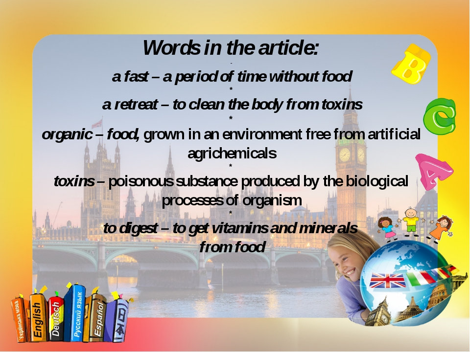Words in the article: - a fast – a period of time without food * a retreat –...
