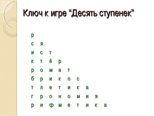 "Ключ к игре ""Десять ступенек"" А  Ар А ся Аист А ктёр..."