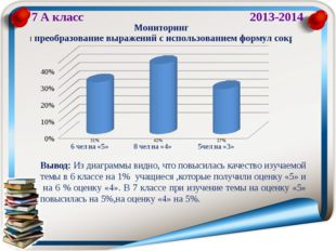 7 А класс 2013-2014 Вывод: Из диаграммы видно, что повысилась качество изучае
