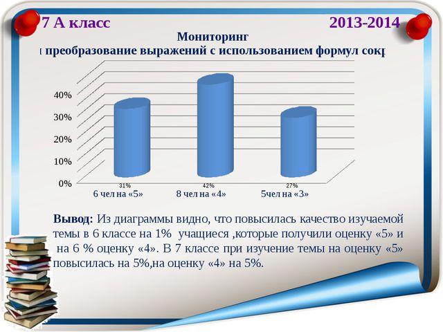 7 А класс 2013-2014 Вывод: Из диаграммы видно, что повысилась качество изучае...