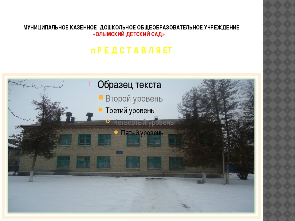 МУНИЦИПАЛЬНОЕ КАЗЕННОЕ ДОШКОЛЬНОЕ ОБЩЕОБРАЗОВАТЕЛЬНОЕ УЧРЕЖДЕНИЕ «ОЛЫМСКИЙ ДЕ...