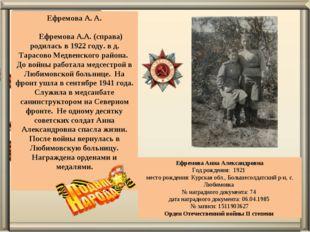 Ефремова А. А.  Ефремова А.А. (справа) родилась в 1922 году. в д. Тарасово М