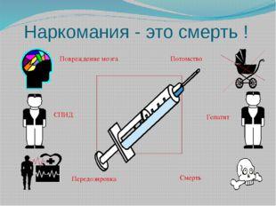 Наркомания - это смерть ! СПИД Гепатит Смерть Потомство Повреждение мозга Пер