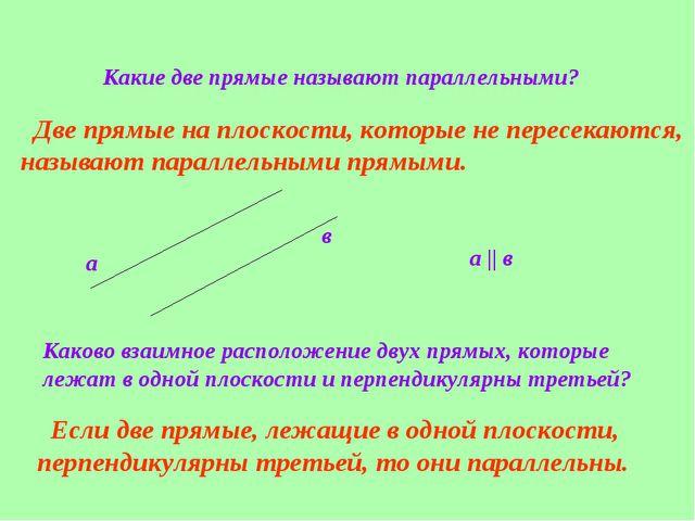 Какие две прямые называют параллельными? Две прямые на плоскости, которые не...