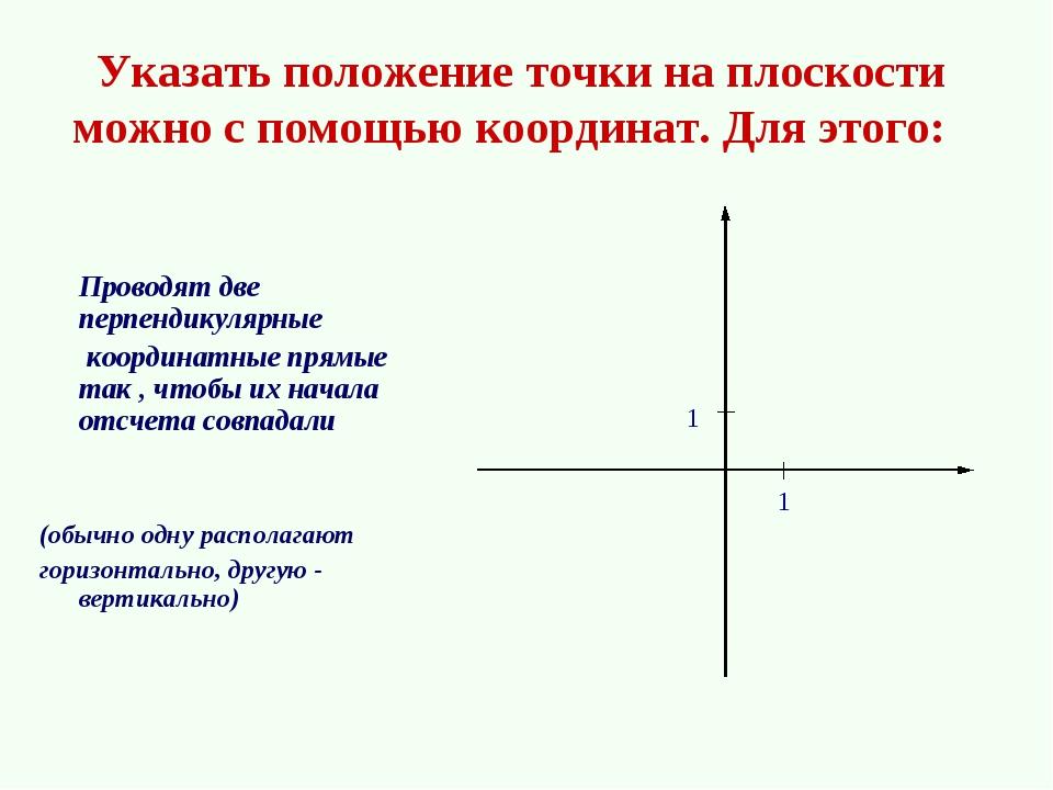 Указать положение точки на плоскости можно с помощью координат. Для этого:...