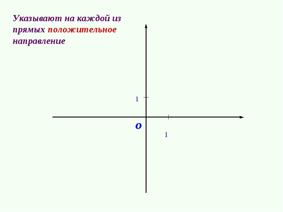1 1 о Указывают на каждой из прямых положительное направление