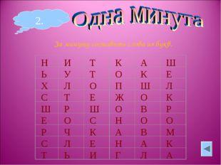 2. За минуту составить слова из букв.