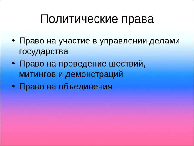 Политические права Право на участие в управлении делами государства Право на...