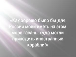 «Как хорошо было бы для России моей иметь на этом море гавань, куда могли при