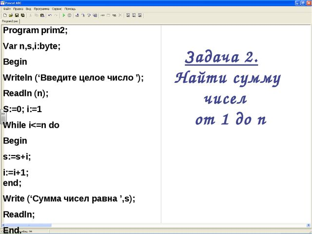 Program prim2; Var n,s,i:byte; Begin Writeln ('Введите целое число '); Readl...