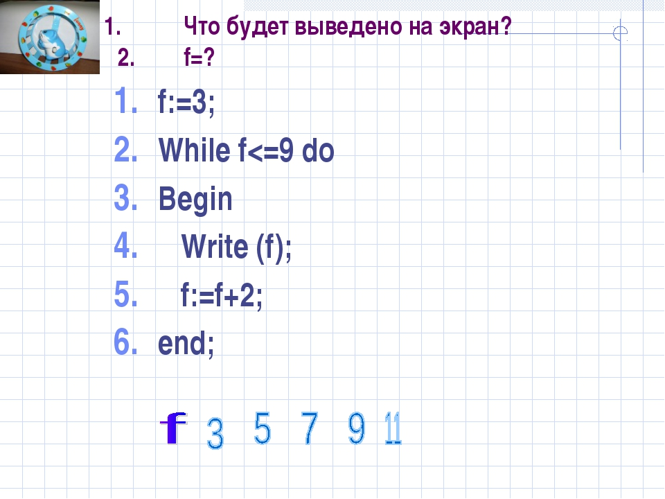 1.Что будет выведено на экран? 2.f=? f:=3; While f