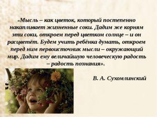 «Мысль – как цветок, который постепенно накапливает жизненные соки. Дадим же